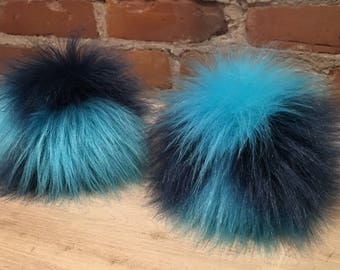 Teal Blue Pom, Blue Pom Pom, Aqua Pom Pom, Multi-Color Pom, Aqua Blue Pom Pom, Dark Teal Fur Ball, Faux Fur, 5 Inch, Removable, Knit Hat Pom