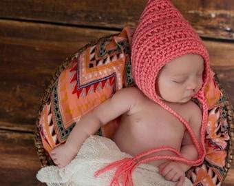 Elf Hat Elf Baby Hat Baby Bonnet Pixie Hat Newborn Hat Newborn Baby Hat Baby Clothes Baby Gift Photo Props Photography Props Strawberry Pink