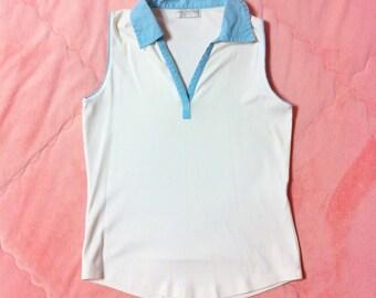 90s Vintage White Polo Shirt, Tennis Polo Shirt, Tennis Shirt, White Tennis Polo Top, White Polo Shirt, Vintage White Tank Top