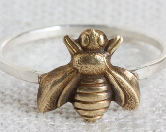 Mixed Metal (Sterling Silver and Oxidized Brass) Bee Ring