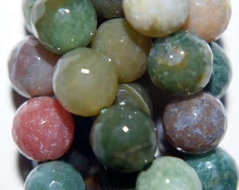 "Natural Faceted Indian Agate Beads - Round 8 mm Gemstone Beads - Full Strand 15 1/2"", 46 beads, A+Quality"