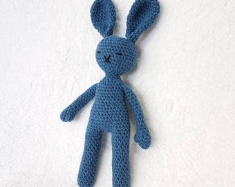 Handmade Crochet Sleepy Blue Bunny Rabbit