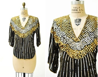 Vintage Sequin Shirt Size Medium Gold Silver Metallic Black Sequin Beaded Shirt Top Art Deco Flapper Inspired By Judith Ann Creations
