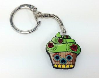 Sugar Skull Cupcake Necklace or Keychain