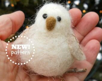 KIT-PATTERN. A Needle Felting Kit. Woodland Baby Owl Ornament Kit. Great Gift Idea
