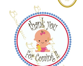 INSTANT DOWNLOAD Printable Thank You Tags Baby Shower girl