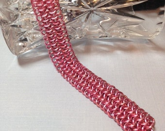 Chainmaille  Bracelet- Pink- European 4 in 1 Weave