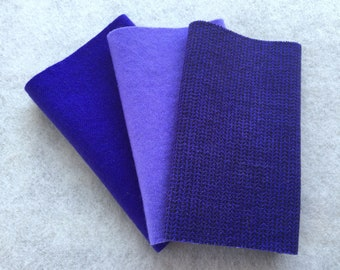 "Hand Dyed Felted Wool, Blue Violet, Three 6.5"" x 16"" pieces in Vivid Purple"