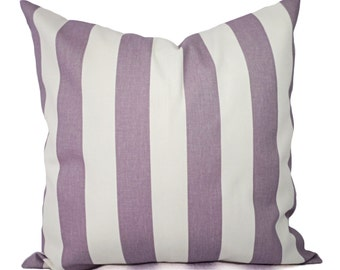 Two Purple Pillow Covers - Decorative Pillow Cover - Striped Purple Throw Pillow - Lavender Pillow - Striped Pillow - Dorm Decor