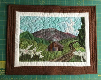 Landscape art wall quilt country road