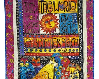 Baby Quilt for Wall or Cuddle in Laurel Burch Laurel Land on The Day You were Born