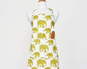 Citron Elephant Adult Apron - Kitchen Apron - Adult Cotton Apron with Elephants - Adult Organic Apron - GOTS Certified