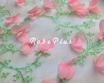 Pink Floral Lace Fabric - Pink appliqué lace  - Floral embroiderEd Tulle appliqué lace - Turquoise 3d appliqué lace - L140