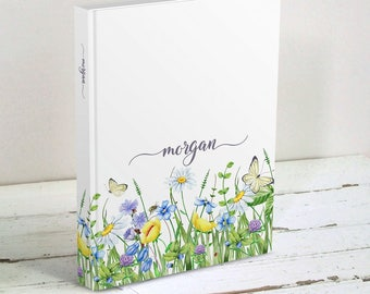Meadow Floral Journal, Personalized - Custom Hardcover Blank Book, Diary, Gardening Journal - Gift for Friend, Gift for Teen