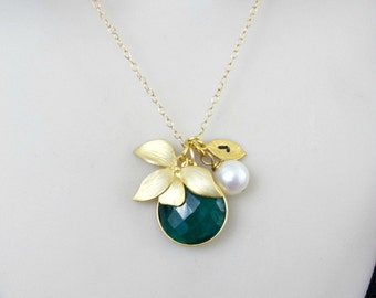Birthstone Necklace, Custom Necklace, Emerald Necklace, Initial Necklace, Flower necklace, May birthstone Jewelry, Orchid, Gold, Silver,