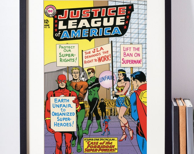 The Justice League Wall Art /  Vintage Comic Book Cover /  Superhero Decor / Geeky Baby Gift / Nerdy Art / Superman / Batman / Wonder Woman