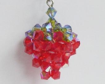 SALE Swarovski Crystal STRAWBERRY necklace
