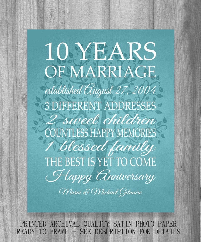 Gift 10 Year Wedding Anniversary: 10 Year Anniversary Gift Print Wedding Anniversary