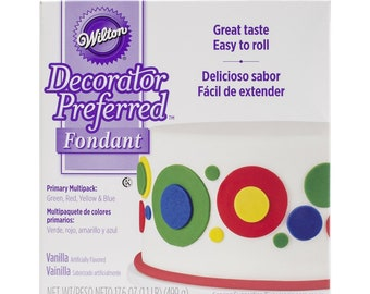 Wilton Primary Decorator Preferred Fondant, Assorted, 4-Pack, Cake Decorating Supplies