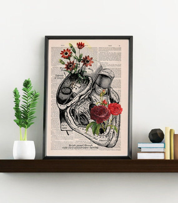 Flowery Heart human Anatomy Print on dictionary page gift , love wall art, human anatomy, science & anatomy art SKA080