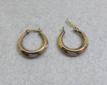 Sterling Hoop Pierced Earrings, 3/4ths Inch High, Vintage