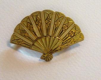Signed SPAIN Fan Brooch. Signed Jewelry. Spanish Damascene Fan Brooch. Fan Jewelry.
