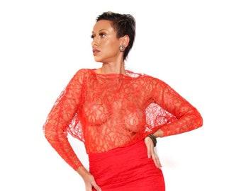 Lace Dolman Sleeve blouse