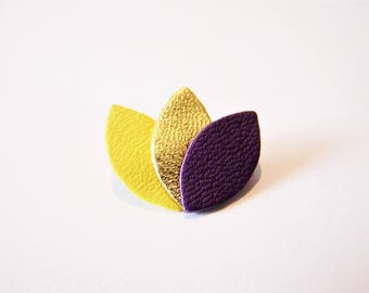 Lemon yellow leather, gold and purple petals brooch
