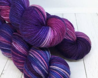 WORSTED WEIGHT Yarn - Hand Dyed Merino Wool in Purple Passion
