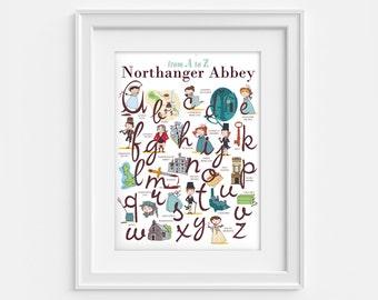 Jane Austen print, Northanger Abbey Alphabet (12,60 x 18,10) From A to Z.