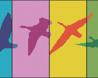 Birds Modern Cross Stitch Pattern PDF Chart Set of Flying Birds Silhouette Cross Stitch Unique Original Design