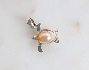 Sterling Turtle Pendant - Pearl Turtle Silver Pendant