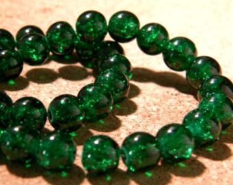 glass Crackle 8 mm - dark green - PE281 50 beads