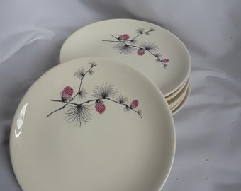 Vintage Canonsburg Pottery, Skyline, Wild Clover Pattern Bread and Butter Plates, Set of 7, 1960's