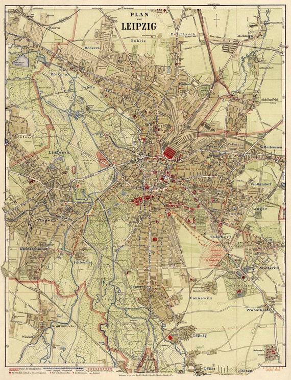 Leipzig map Old map of Leipzig Alte Karte von Leipzig