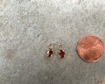 Vintage Estate 14 KT Yellow Gold Genuine Oval Shaped Garnet Faceted Earring Charms Add To hoops Interchangeable
