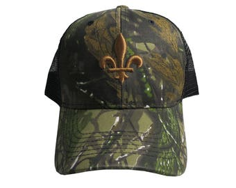 Fleur de Lis Copper 3D Puff Embroidery on Hunter Woodland Green Camouflage Structured Adjustable Classic Trucker Style Cap Black Back Mesh
