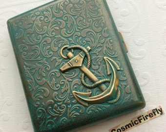 Big Cigarette Case Nautical Anchor Big Case Antiqued Brass Metal Large Double Size Gothic Victorian Steampunk Style Vintage Inspired New