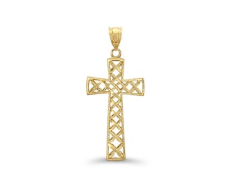 14k solid gold cross pendant. religious jewelry