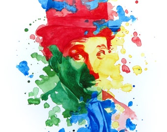 The power of color - Charlie Chaplin  Watercolor portrait Modern style hand-painted