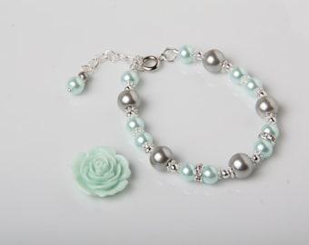 Mint Flower girl bracelet, Wedding Jewelry, Mint and Grey,Flower girl gift, Pearl Bracelet, Mint wedding Jewelry, Junior Bridesmaid