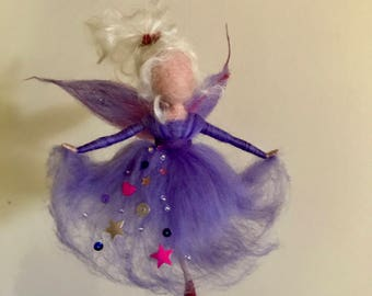 Needle felted fairy, Waldorf inspired, Wool Angel in purple dress, Home décor, Art doll, Christmas ornament, Gift