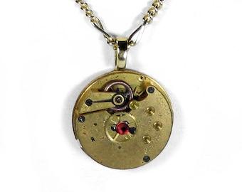 Steampunk Jewelry Brass Golden POCKET WATCH Steam Punk Pendant RED Swarovski Crystal Anniversary Holiday Gift Men Women - Steampunk Boutique