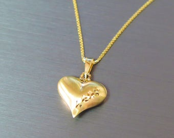 Heart Pendant, Gold Heart Necklace, Gold Heart Pendant, Love Necklace, Gold Love Necklace, Gift For Her, Solid Gold Heart, 14k Heart