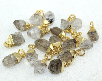 Natural Clear Raw Herkimer Diamond Charm Pendant , 16mm To 22mm Raw Gemstone 24k Gold Electroplated Connectors Wholesale Jewelry Making