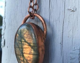 Labradorite Necklace - Electroform Jewelry - Electroform Labradorite Necklace - Orange Labradorite - Crystal Necklace - Orange Stone
