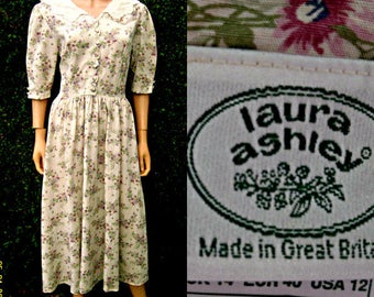 Beautiful Quaint Vintage Laura Ashley Dress Lace Collar Cream Cotton With Pink Purple Floral Spays 12-14