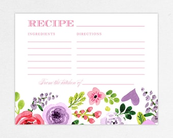 INSTANT DOWNLOAD Bridal Shower Recipe Card, Printable Recipe Card, DIY Recipe Card, Printed Recipe Cards, Watercolor, Floral, Pink, Michaela