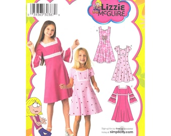 Girls Dress Pattern Simplicity 3902 Bell Sleeve Flared Dress Sleeveless Girls Size 3 4 5 6 Sewing Pattern UNCUT