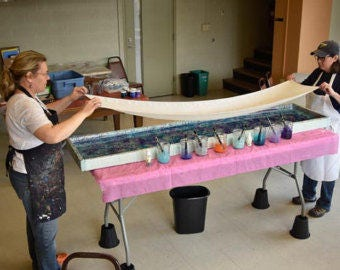 Hand-marbled Floral Turquoise and White Silk Washable Scarf Large - 14 x 72""